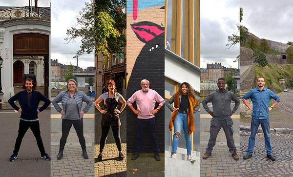 Photo-montage de citoyens prenant une pose de super-héros en différents endroits de Namur